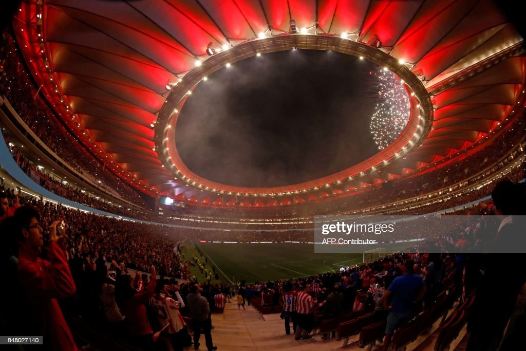 Fireworks light up the sky during the inauguration of the Wanda Metropolitano stadium after the Spanish league football match Club Atletico de Madrid vs Malaga CF in Madrid on September 16, 2017. /
