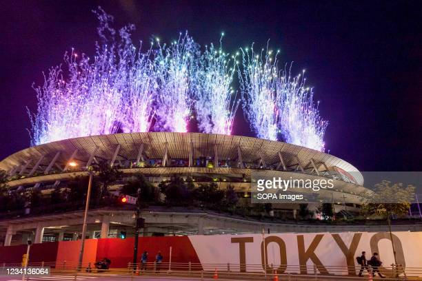 Fireworks light up the sky during the Olympic opening ceremony at the new National Stadium in Gaiemmae, Tokyo The delayed 2020 Tokyo Olympics opened...