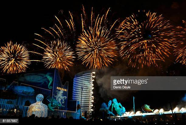 Fireworks light up the sky during the opening ceremony of the Expo Zaragoza 2008 World Fair which was opened on the banks of the river Ebro on June...