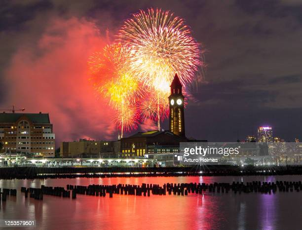 Fireworks light up the sky on June 30 2020 in New York City This part of six July 4th firework displays in locations around the city that are kept...