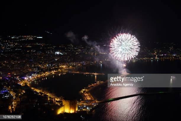 Fireworks light up the sky over Alanya Castle during the new year celebrations in Antalya Turkey on January 01 2019