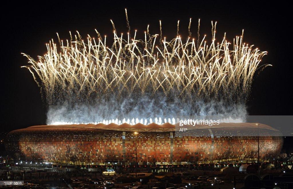 Fireworks light up the sky over Soccer C : News Photo