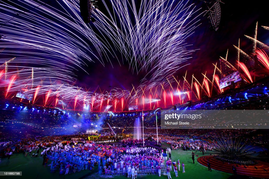 Fireworks light up the stadium during the closing ceremony on day 11 of the London 2012 Paralympic Games at Olympic Stadium on September 9, 2012 in London, England.