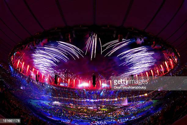 Fireworks light up the stadium during the closing ceremony on day 11 of the London 2012 Paralympic Games at Olympic Stadium on September 9 2012 in...