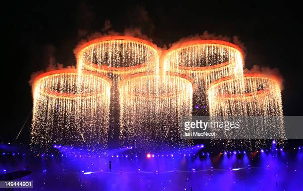 Fireworks light up the stadiumh during the Opening Ceremony of the London 2012 Olympic Games at the Olympic Stadium on July 27 2012 in London England