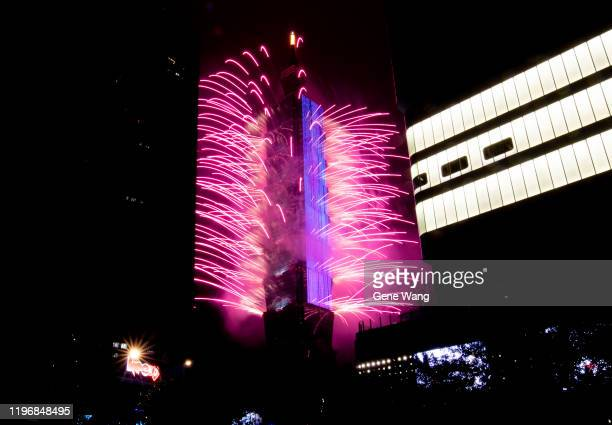 Fireworks light up the Taiwan skyline and Taipei 101 during New Years Eve celebrations on January 01 2020 in Taipei Taiwan