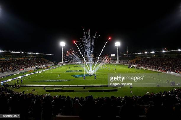 Fireworks light up Yarrow Stadium as players take the field during the round 13 Super Rugby match between the Chiefs and the Blues at Yarrow Stadium...
