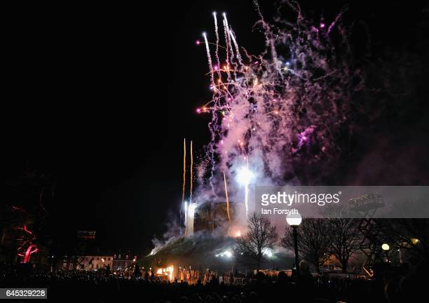 Fireworks mark the end of the battle as Viking re-enactors perform during the finale of a living history display on February 25, 2017 in York, United...