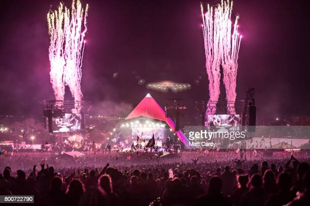 Fireworks mark the end of the Foo Fighters performance at the Glastonbury Festival site at Worthy Farm in Pilton on June 24, 2017 near Glastonbury,...