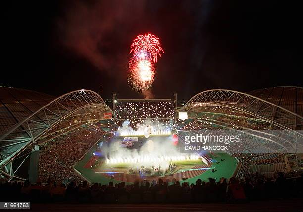 Fireworks mark the official opening of Stadium Australia 12 June 1999 the main venue of the Sydney 2000 Olympic Games Over 88000 sports fans watched...
