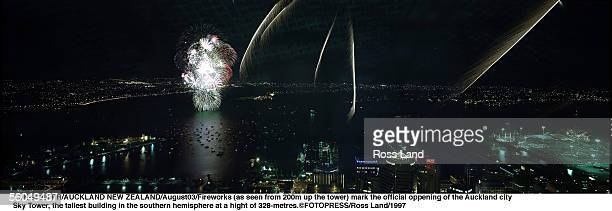 Fireworks mark the official oppening of the Auckland city rSky Tower the tallest building in the southern hemisphere at a hight of 328metres