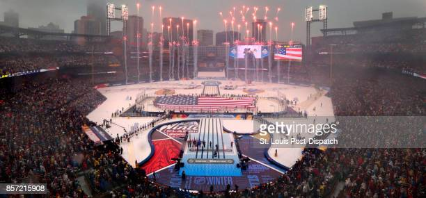 Fireworks mark the opening ceremony of the Winter Classic between the St Louis Blues and Chicago Blackhawks on Monday Jan 2 2017 at Busch Stadium in...