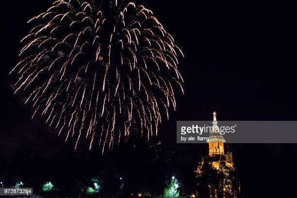 Fireworks near the Orthodox Cathedral in Timisoara, Romania