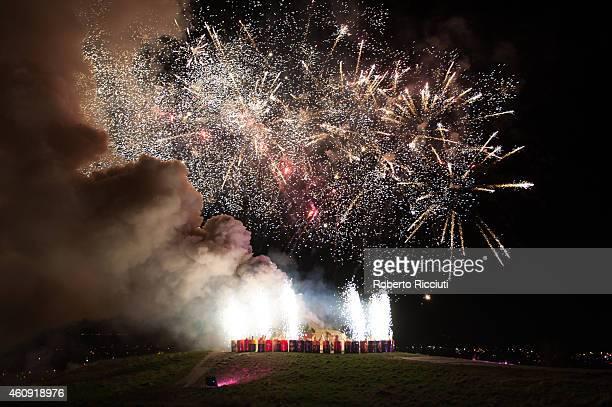 Fireworks on Calton Hill during Edinburgh's Hogmanay on December 30 2014 in Edinburgh Scotland