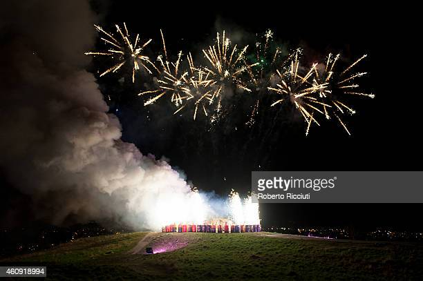Fireworks on Calton Hill during Edinburgh's Hogmanay on December 30 2014 in Edinburgh Scotland