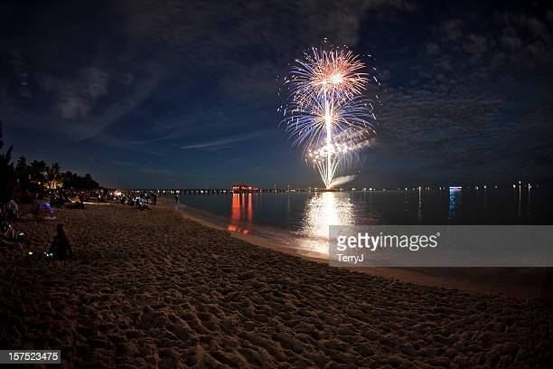 fireworks on the beach - naples florida stock pictures, royalty-free photos & images