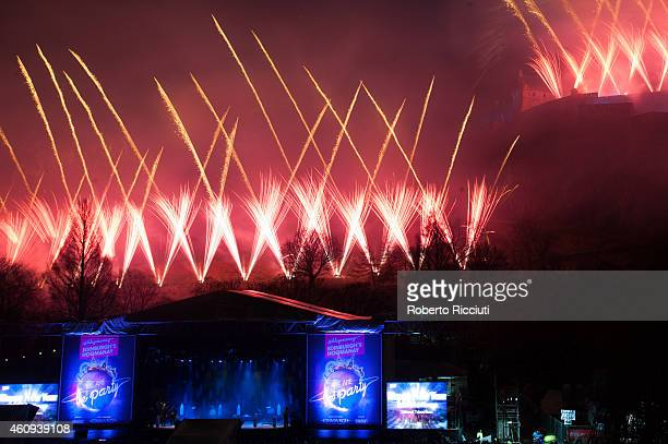 Fireworks on the Castle to celebrate New Year's Day during Edinburgh's Hogmanay on December 31 2014 in Edinburgh Scotland