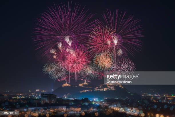 fireworks on the mountain - fireworks stock pictures, royalty-free photos & images