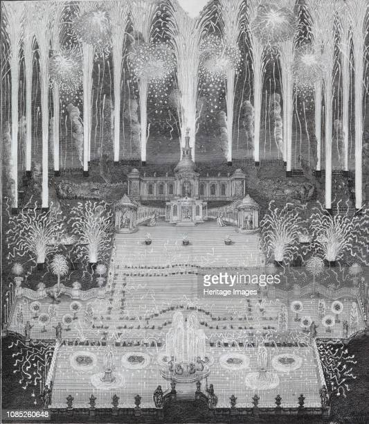Fireworks on the occasion of the conclusion of peace between Russia and Sweden on July 16, 1744 in Moscow in front of the imperi, 1744. Found in the...