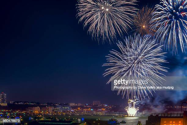 fireworks on the river - fourth of july stock photos and pictures