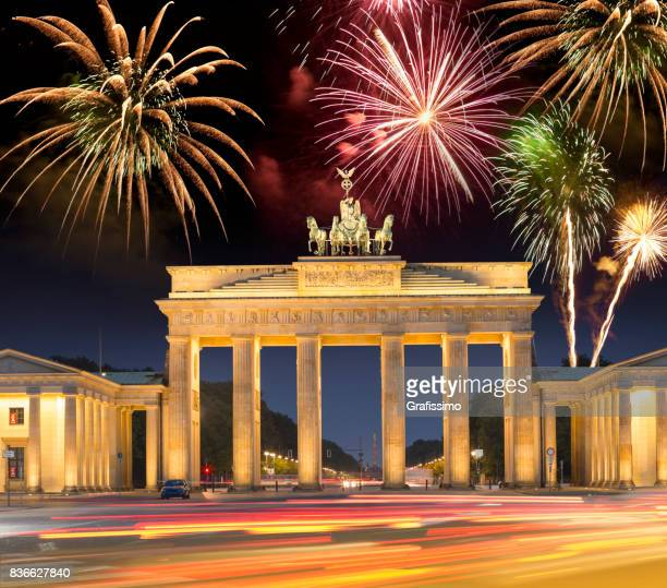 Fireworks over Brandenburger Tor in Berlin Germany for happy new year