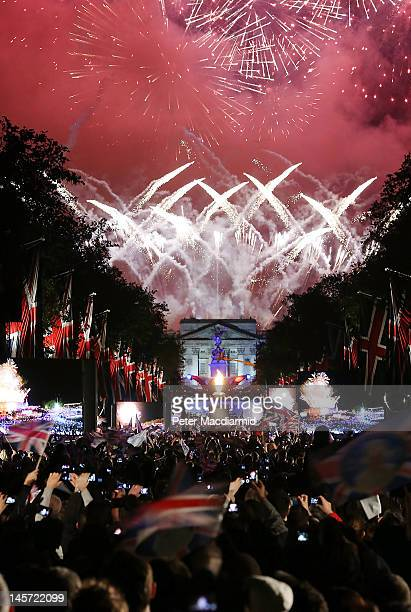 Fireworks over Buckingham Palace mark the end of The Diamond Jubilee Concert from The Mall on June 4, 2012 in London, England. For only the second...