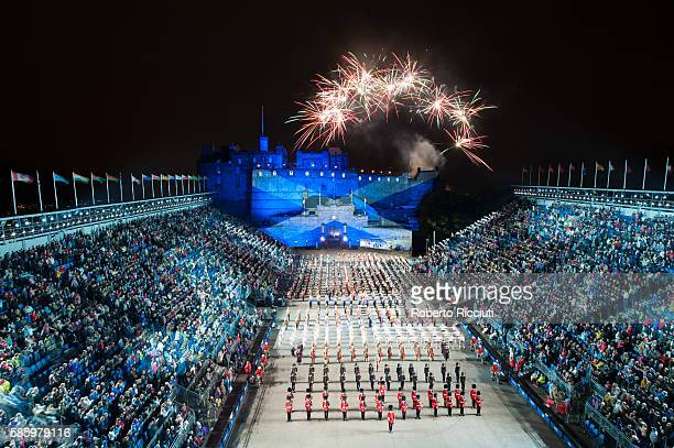 Fireworks over Edinburgh Castle mark the end of the Royal Edinburgh Military Tattoo preview night at Edinburgh Castle on August 4 2016 in Edinburgh...