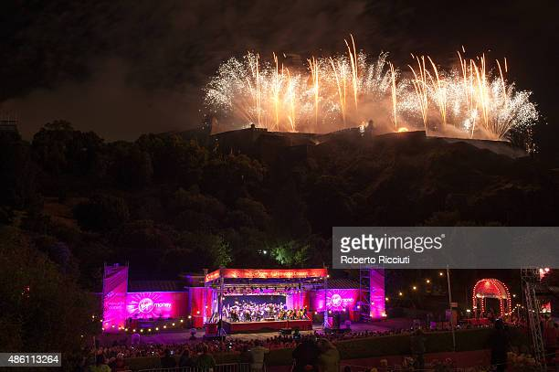 Fireworks over Edinburgh Castle marking the end of Edinburgh Festival during the annual closing concert at Ross Theatre on August 31 2015 in...