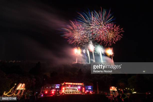 Fireworks over Edinburgh Castle marking the end of the 70th Edinburgh Festival during the annual closing concert at Princes Street Gardens on August...