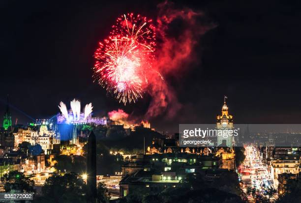 fireworks over edinburgh's skyline - edinburgh fringe stock photos and pictures