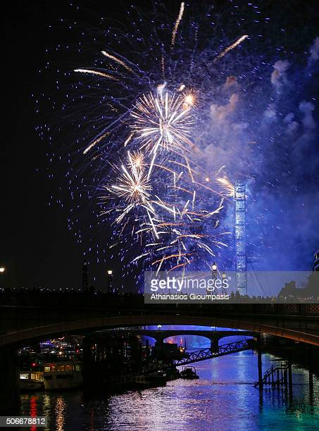 Fireworks over London Eye on January 01 2016 in London England New Year Event fireworks display takes place on the River Thames opposite the Houses...