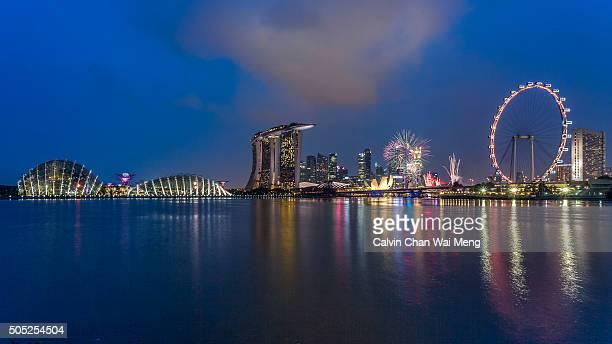 Fireworks over Marina Bay - Singapore