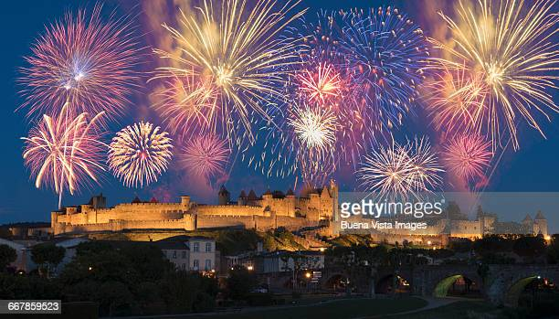 fireworks over medieval city - carcassonne stock pictures, royalty-free photos & images