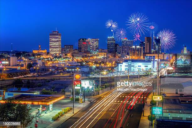 fireworks over nashville - nashville skyline stock pictures, royalty-free photos & images