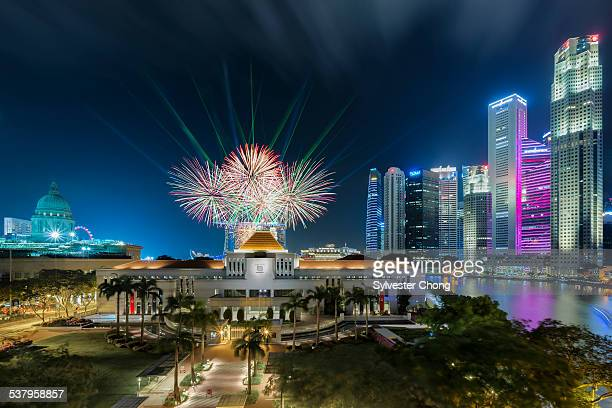 Fireworks over Singapore Parliament House