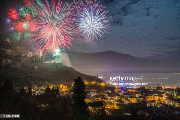 Fireworks over the ancient castle