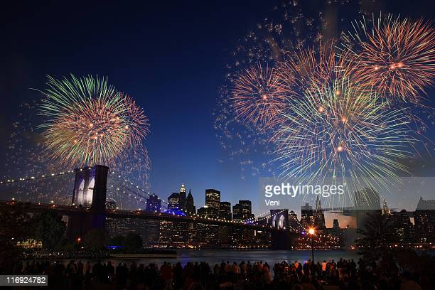 Fireworks over the Brooklyn Bridge in New York City