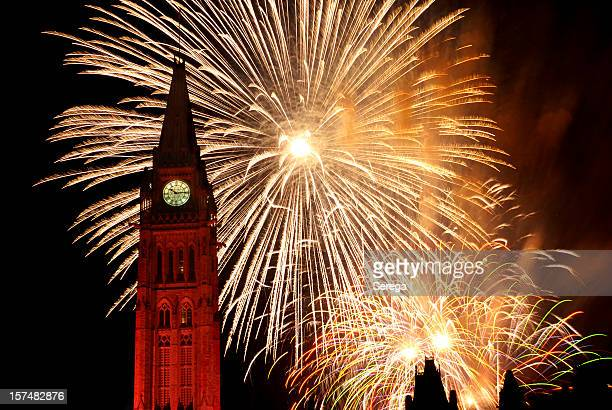 Fireworks over the Canadian Parliament, Ottawa on Canada Day