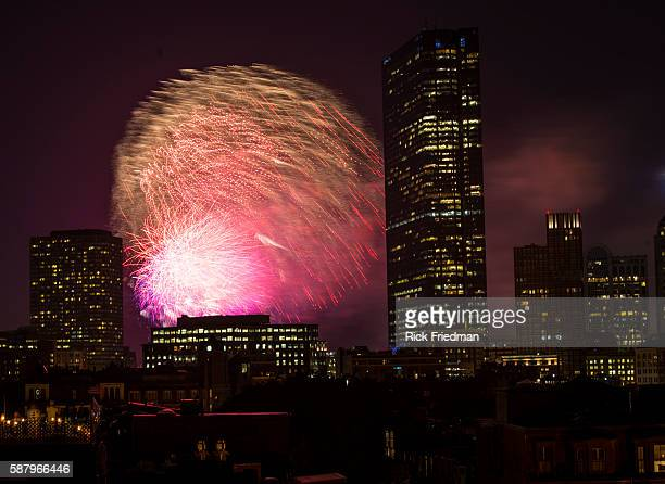 Fireworks over the city of Boston MA on July 4 2013