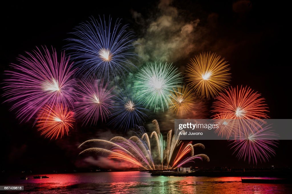 fireworks over the lake : Stock Photo