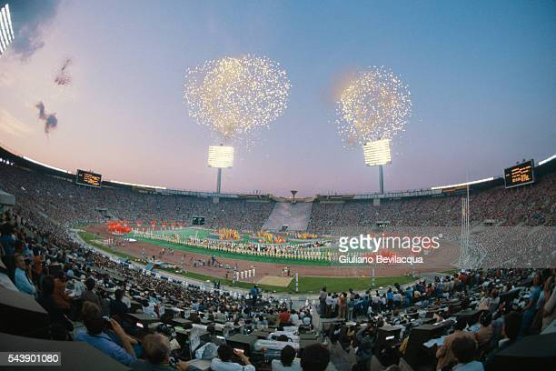 Fireworks over the Olympic stadium during the Closing Ceremony of the 1980 Summer Olympic Games in Moscow