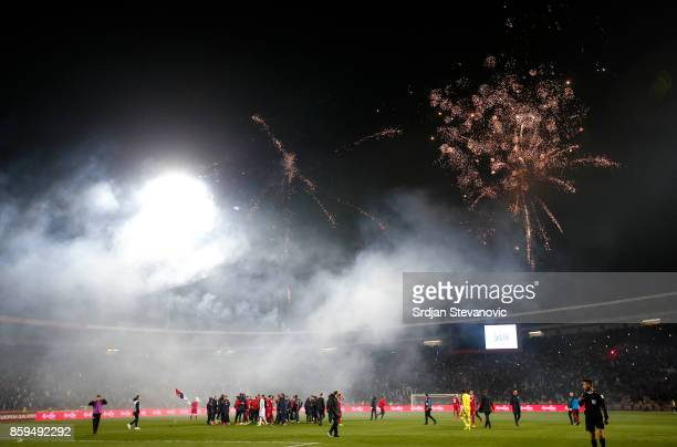 Fireworks over the stadium after FIFA 2018 World Cup Qualifier between Serbia and Georgia at stadium Rajko Mitic on October 9, 2017 in Belgrade.