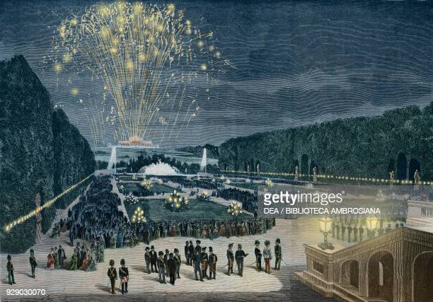 Fireworks party held at Schonbrunn in honour of Czar Alexander II Austria illustration from Album della Esposizione Universale di Vienna No 3 1873...