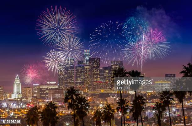dtla fireworks - hollywood california stock pictures, royalty-free photos & images