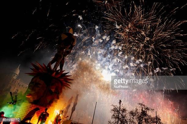 Fireworks prior to the 'Crema' during the last day of the Las Fallas Festival on March 19 2018 in Valencia Spain The Fallas is Valencias most...