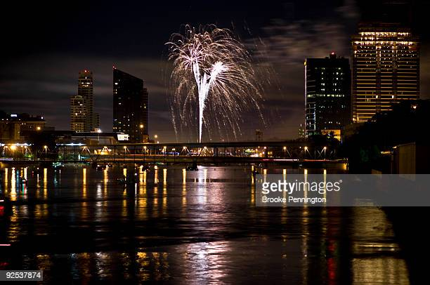 Fireworks rain down