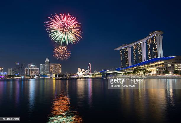 CONTENT] Fireworks seen during the rehearsal for Singapore National Day at Marina Bay
