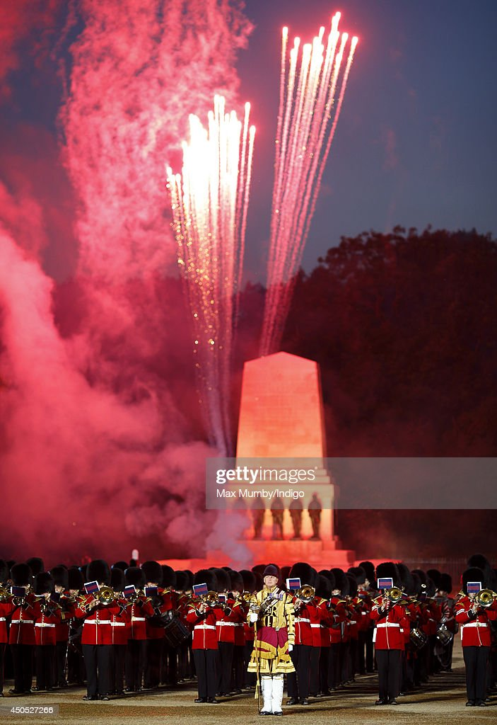 Fireworks seen over the Guards Memorial at the climax of the Household Division's Beating Retreat, watched by Prince William, Duke of Cambridge on Horse Guards Parade on June 12, 2014 in London, England.