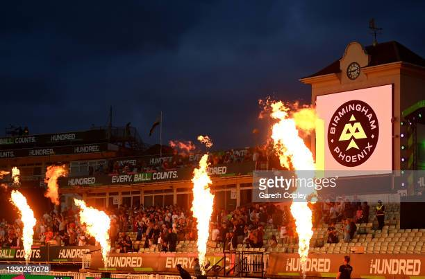 Fireworks set off during The Hundred match between Birmingham Phoenix and London Spirit at Edgbaston on July 23, 2021 in Birmingham, England.