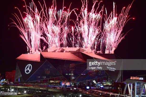 Fireworks shoot in the air above Mercedes-Benz stadium during halftime of Super Bowl LIII between the New England Patriots and Los Angeles Rams on...
